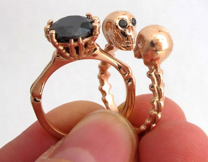 Till Death Do Us Part 14kt Rose Gold Skull Engagement Ring Set