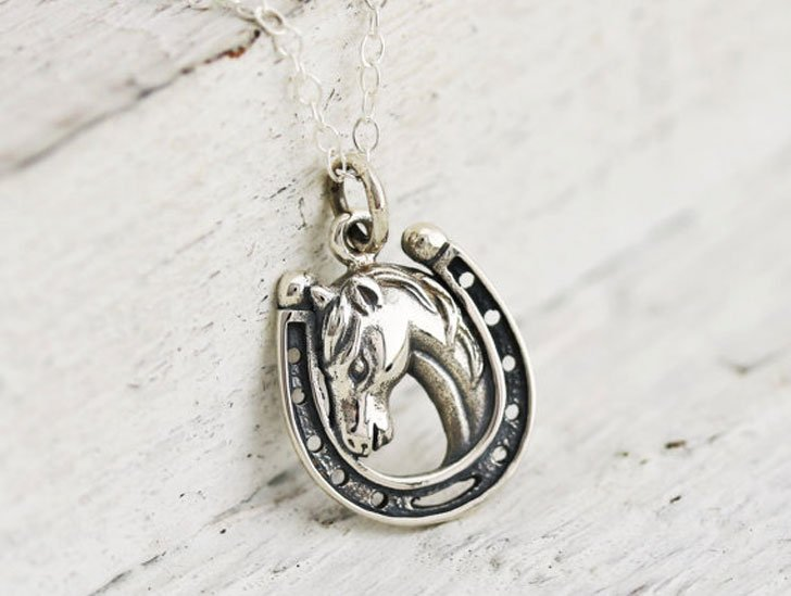 Tiny Horse In Horseshoe Good Luck Necklace