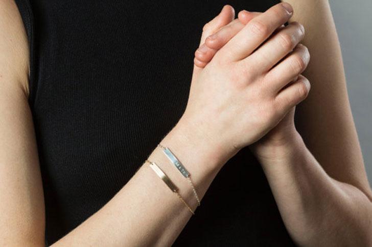 Two Sided Skinny Bar Initials Friendship Bracelets