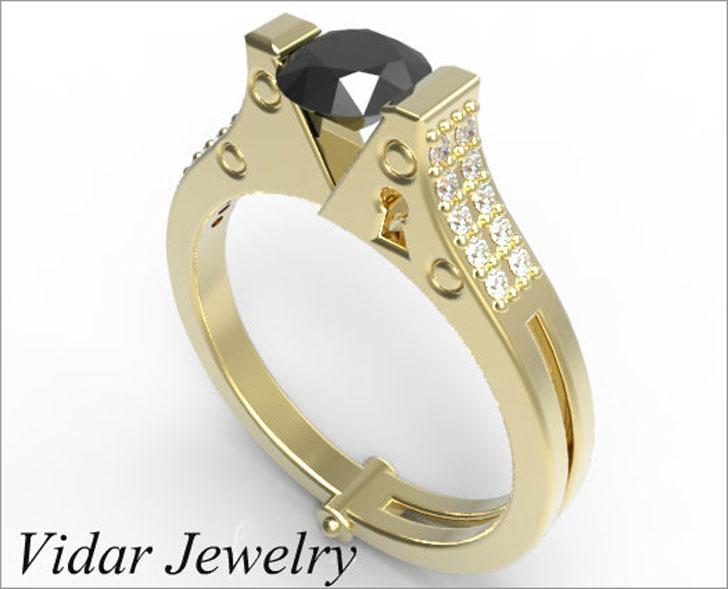 Unique Handcuff Black Diamond Engagement Ring