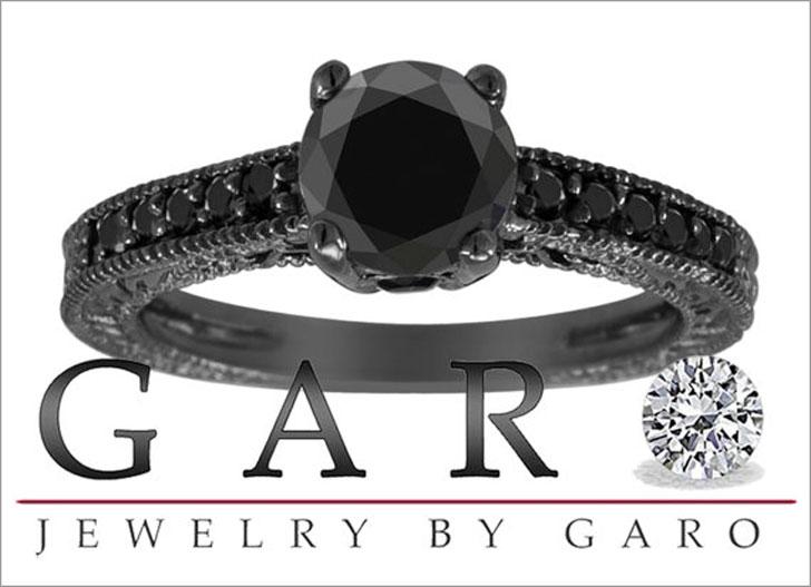 Vintage Style 0.79 Carat Pave Black Diamonds Engagement Ring