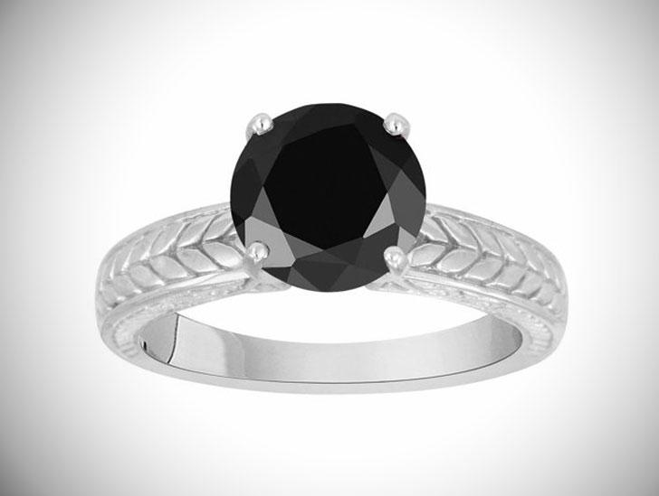 Vintage Style Platinum Black Diamond Solitaire Engagement Ring