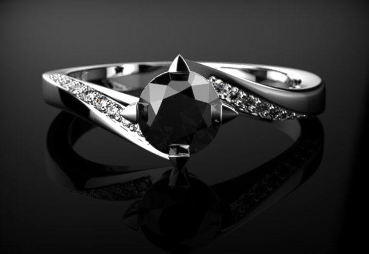 White Gold Black Diamond Engagement Ring
