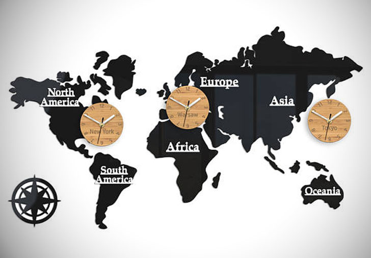 World Time Zones World Clocks - unique wall clocks