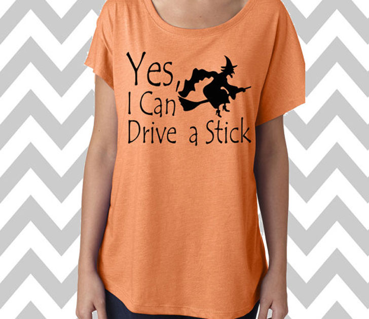 Yes I Can Drive a Stick Halloween Witch T-Shirt