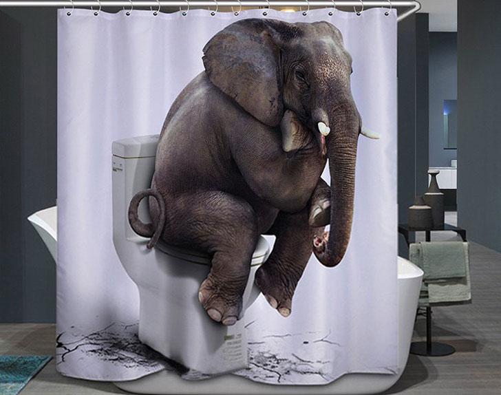 Funny Elephant on Toilet Shower Curtain