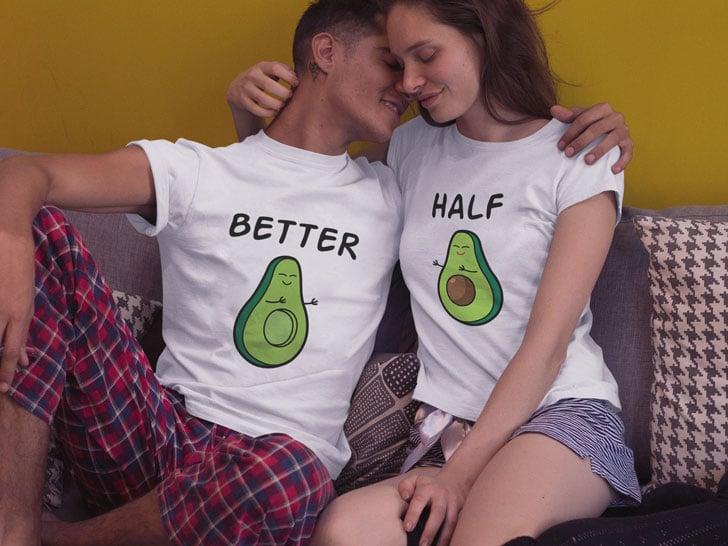 avocado halves couple t shirts