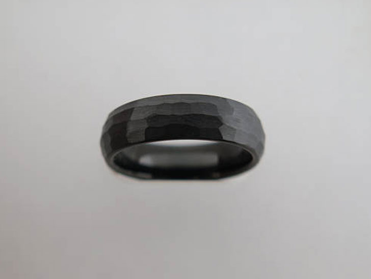 6mm Hammered Black Brushed Tungsten Carbide Ring
