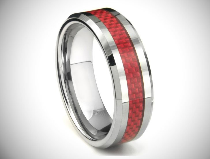 ALOYSIUS Tungsten Carbide Red Carbon Fiber Ring - Tungsten Carbide Rings