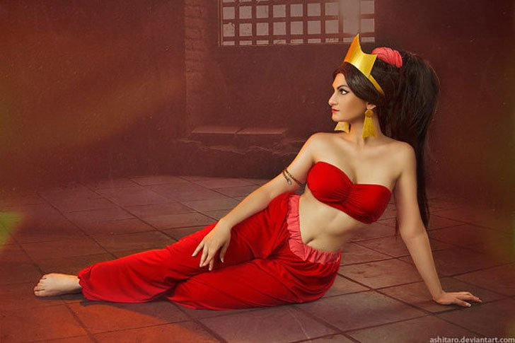 Aladdin Jasmine Red Cosplay Costume