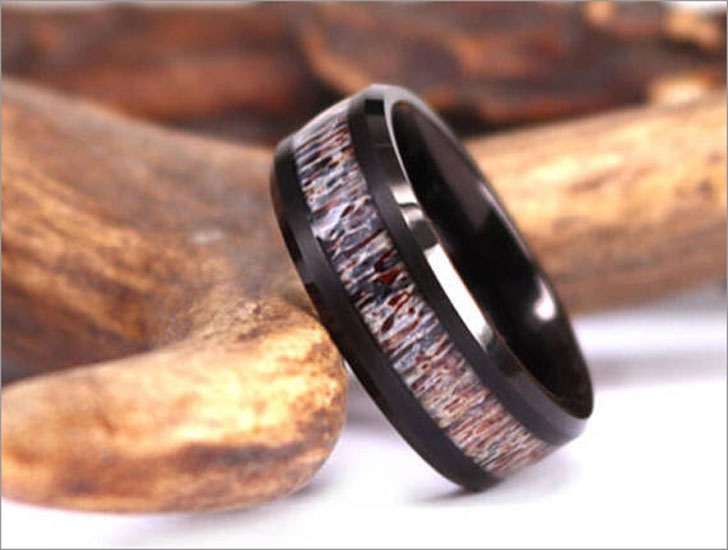 Antler Black Tungsten Rings