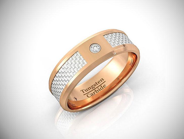 Art Deco Rose Gold Tungsten Ring