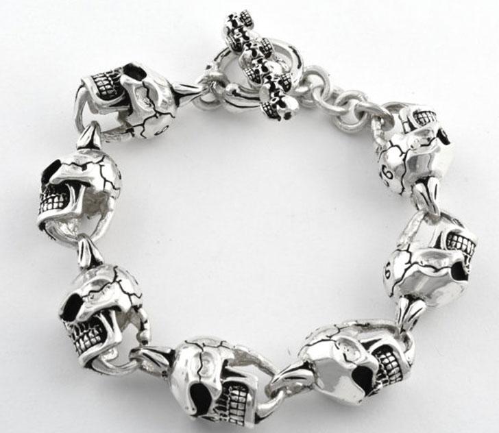 Big Heavy Biker Skull Sterling Silver Bracelet