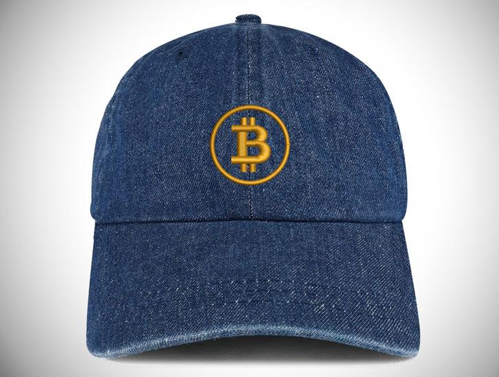 Bitcoin Embroidered 100% Cotton Denim Cap
