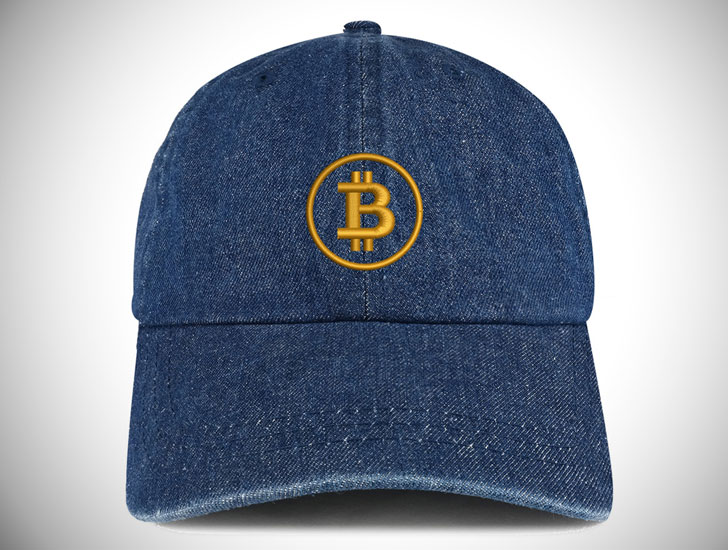Bitcoin Embroidered 100% Cotton Denim Cap