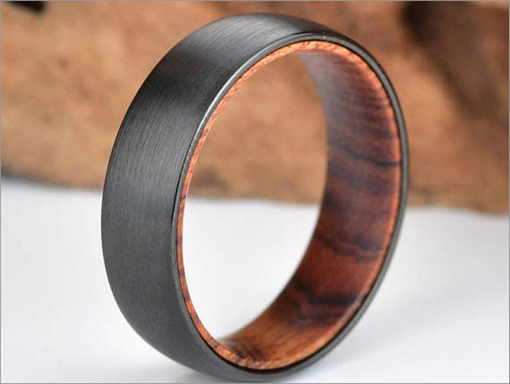 Black Tungsten Ring Snake Wood Wedding Ring