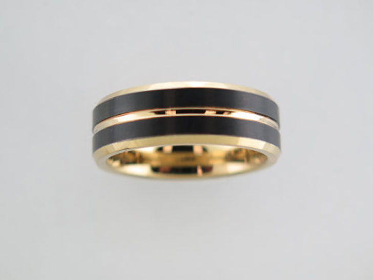 Black and Yellow Gold Tungsten Carbide Unisex Band