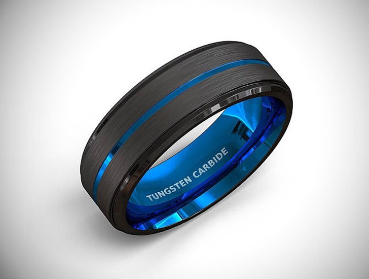 Blue Tungsten Carbide Ring - Tungsten Carbide Rings