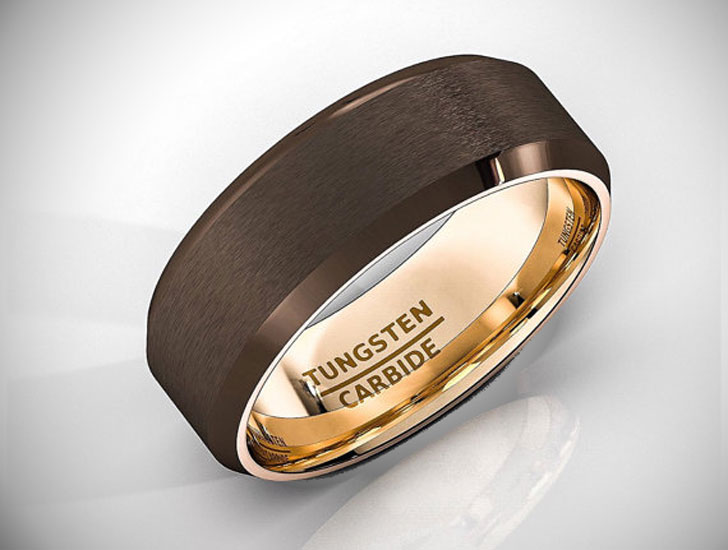 Brown Tungsten Carbide Rose Gold Wedding Band - Tungsten Carbide Rings