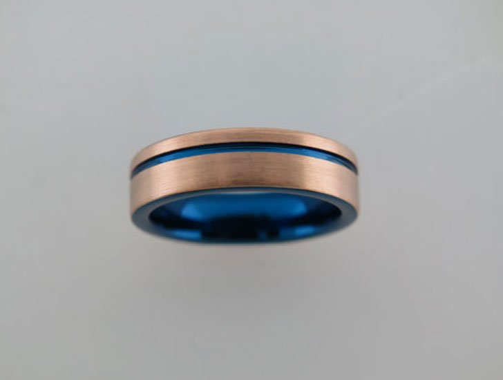 Brushed Tungsten Carbide Unisex Band With Blue Inlay and Stripe