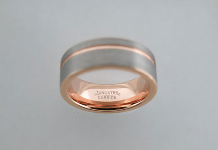 Brushed Tungsten Carbide Unisex Rose Gold Striped Ring