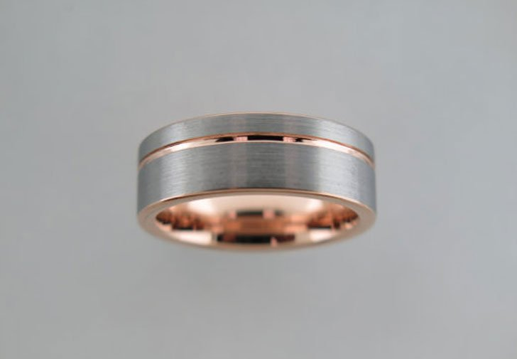 Brushed Tungsten Carbide Unisex Rose Gold Striped Ring - Tungsten Carbide Rings