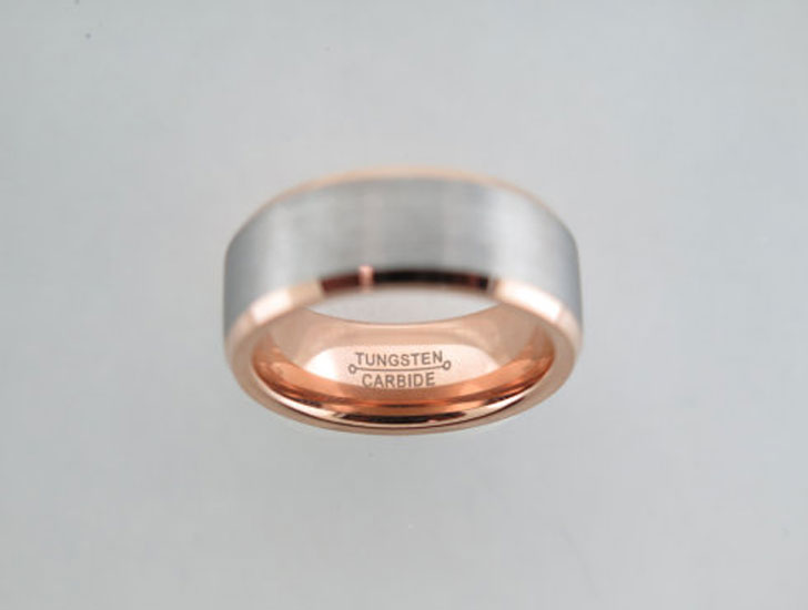 Brushed Tungsten Carbide with Rose Gold Ring - Tungsten Carbide Rings
