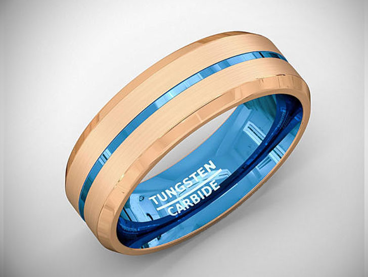 Brushed Tungsten Center Blue Groove Beveled Edge Ring - Tungsten Carbide Rings