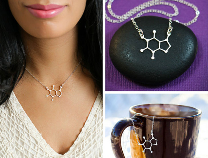 Caffeine Molecule Necklaces
