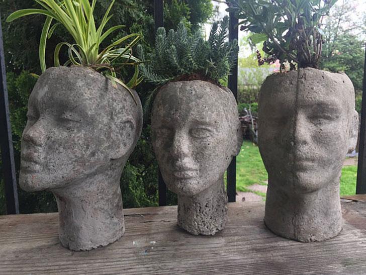 Cast Concrete Head Planters - unique planters