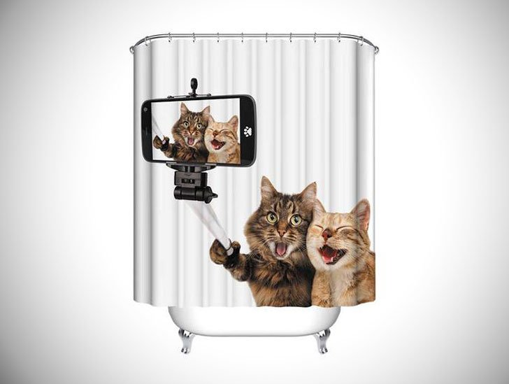 Cat Selfie Shower Curtain - funny shower curtain