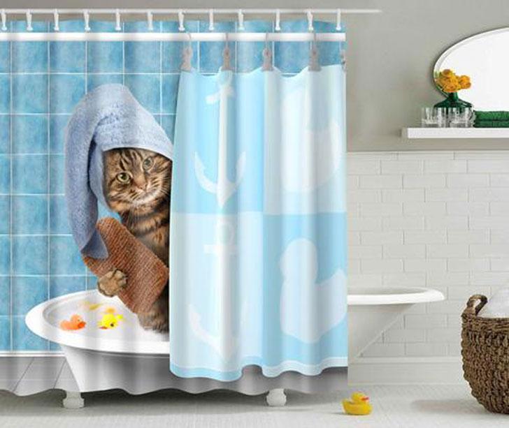 Cat in the Bath Shower Curtain