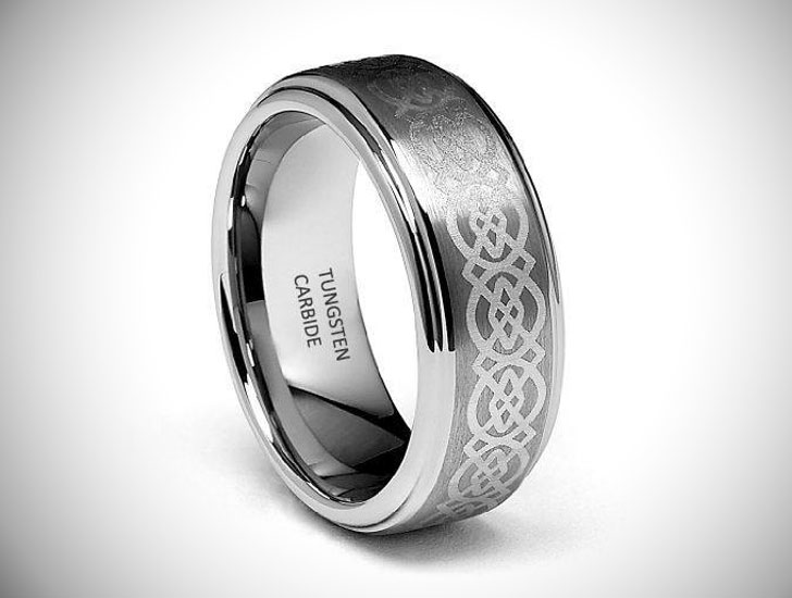 Celtic Design Engravable Tungsten Ring