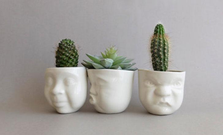 Ceramic Face Planter Pots
