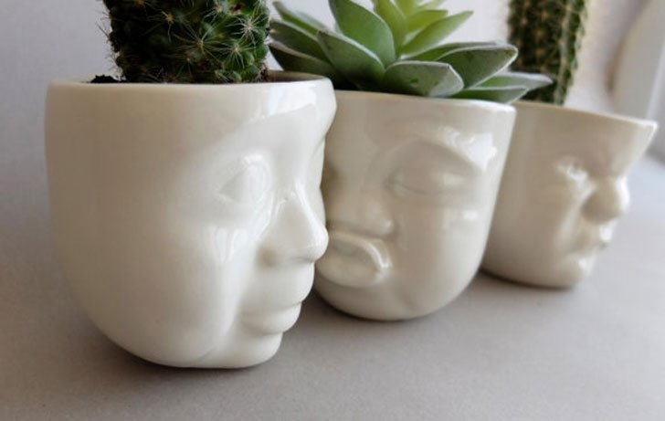 Ceramic Face Planter Pots