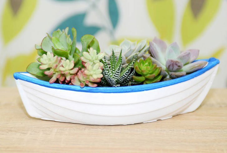 Concrete Boat Shaped Planter