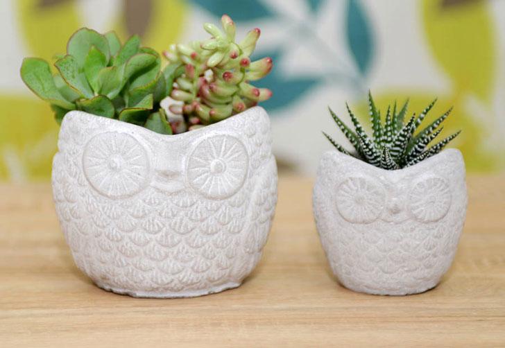Concrete Owl Shaped Planter Pots