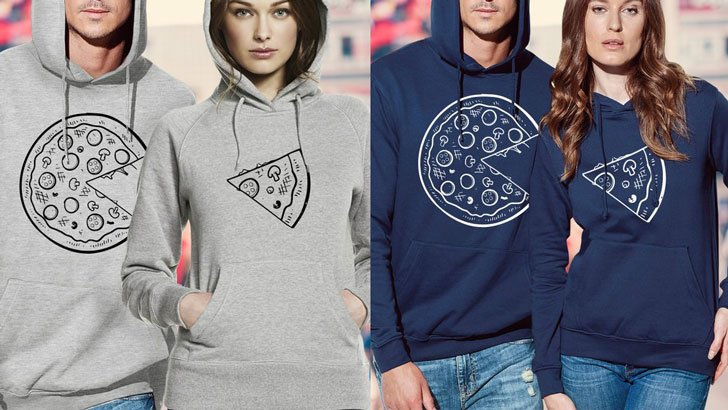 Couples Pizza Slice Hoodies