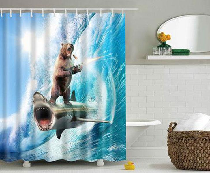 Crazy Bear & Shark Shower Curtain - Crazy weird shower curtain