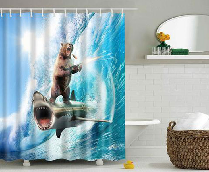 Crazy Bear & Shark Shower Curtain - Crazy weird shower curtain