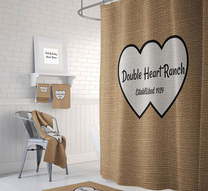 Custom Personalized Double Heart Shower Curtain