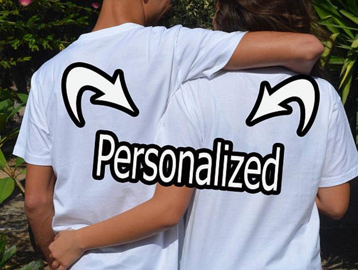 Custom Text Matching Couples Shirts