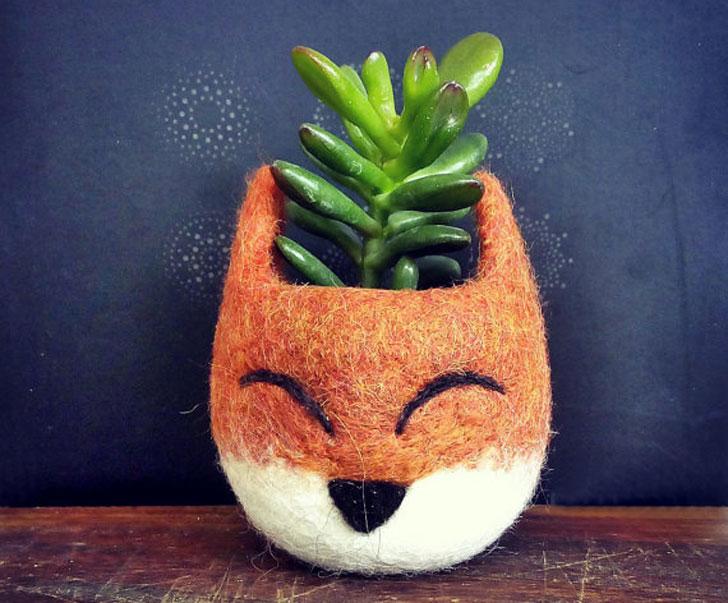Cute Fox Animal Planter - unique planters