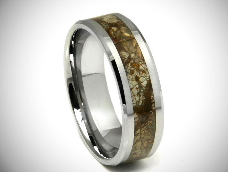 Earth Riverstone Inlay Tungsten Carbide Ring