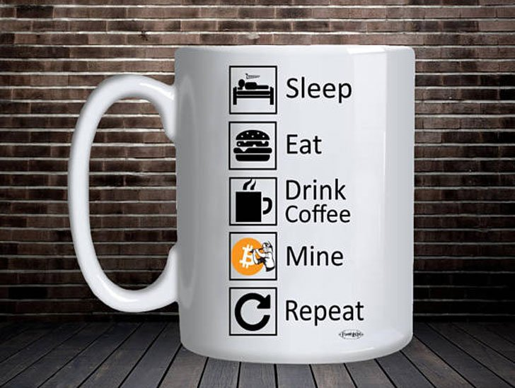 Eat, Sleep, Mine, Repeat Bitcoin Coffee Mug