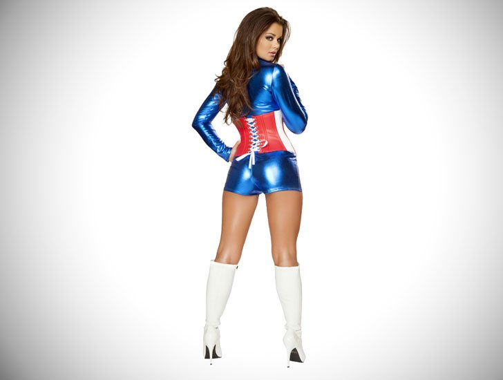Female Captain America Cosplay Costume