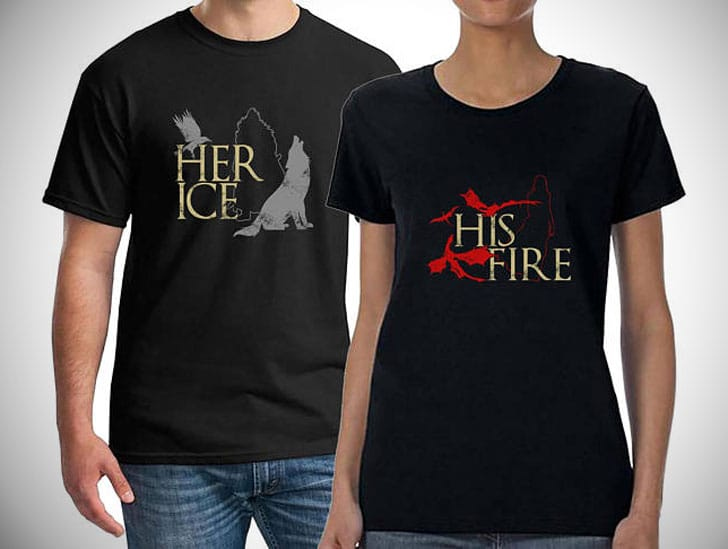 Fire and Ice Couples Matching Shirts