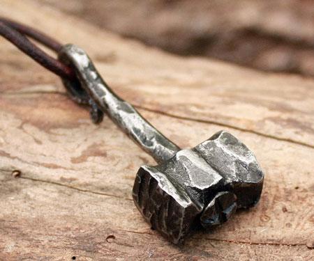 Forged Iron Handmade Thor Hammer Pendant