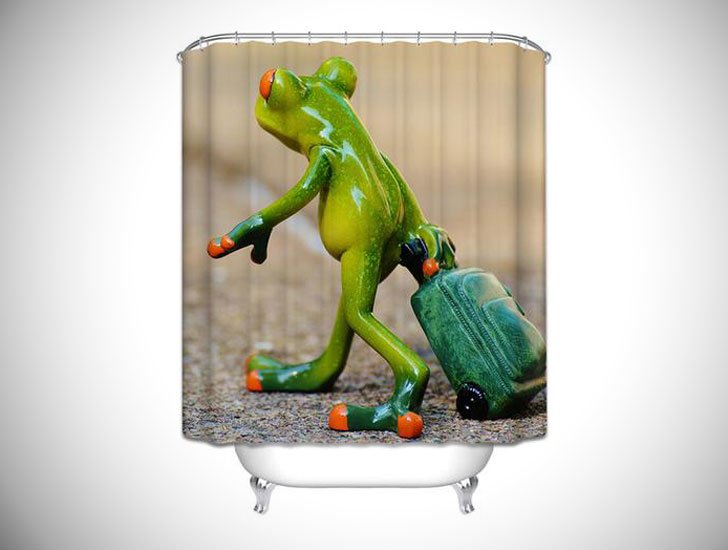 Frog on Holiday Shower Curtain - humorous shower curtain