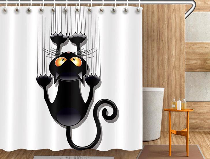 Funny Cat Scratch Shower Curtain
